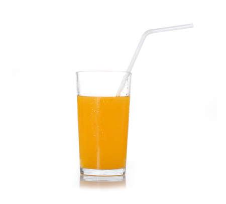 jus: Orange Juice on white background