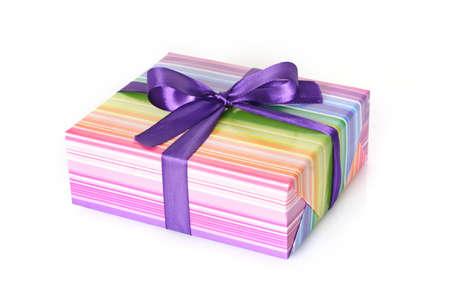 Gift box with purple ribbon photo