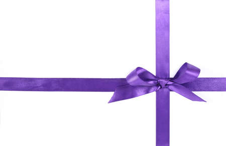 wrapped up: purple ribbon, isolated on white