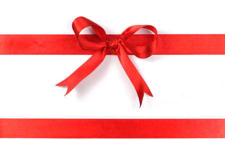 red ribbon, on white Stock Photo