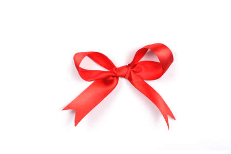 red ribbon, on white photo