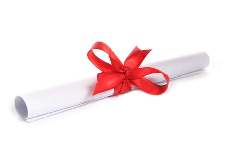 white paper with red ribbon photo