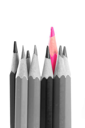 Pink Color pencils on white