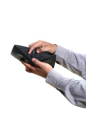 man de hand, met lege portemonnee Stockfoto