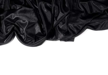 black satin: sat�n negro sobre fondo blanco Foto de archivo