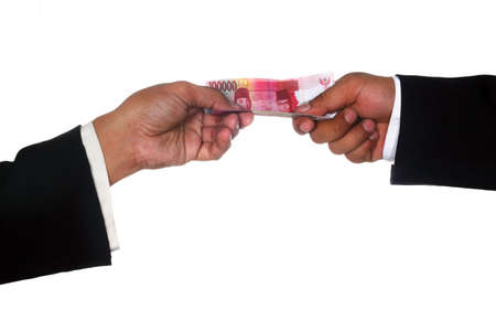 Man hands give money to other man hand, isolated on white Stock Photo