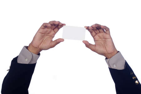 man s hand holding a blank card, isolated on white Stock Photo