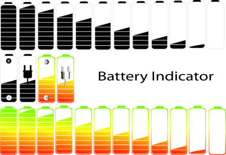 symbols of battery level indicator Vector
