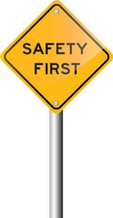 그림 - 안전 제일 도로 표지판 일러스트