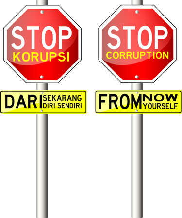 honest: Traffic Sign, with text Stop Corruption Illustration