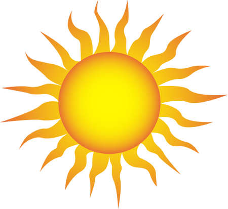 warmness: Symbol of the sun on a white background