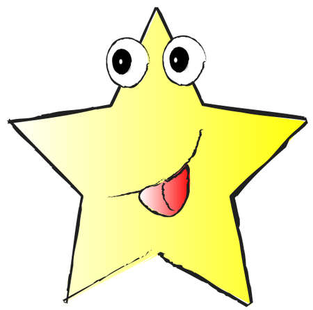 yellow funny star on white background Illustration
