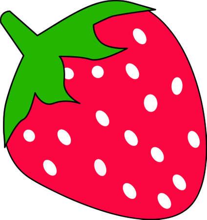 Cartoon strawberry, isolated on white background Illustration