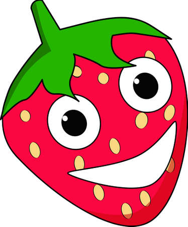 Happy cartoon strawberry character Vector