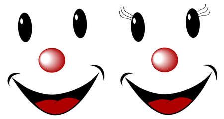 grappig gezicht, mannelijke en vrouwelijke geïsoleerd op wit