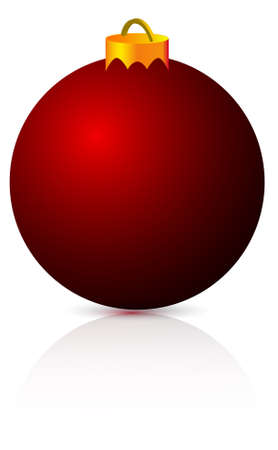 red christmas ball with reflection and soft shadow Vector