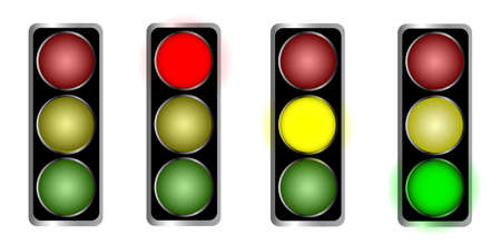 set of Traffic light with on and off lamp, isolated on white Stock Vector - 21031597