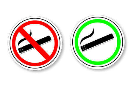 sign - No Smoking and Smoking Area Vector