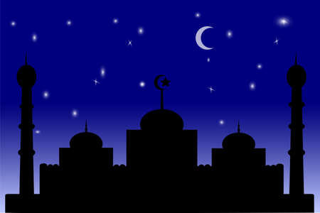 for background or greeting card - mosque - Blue Gradation sky Vector