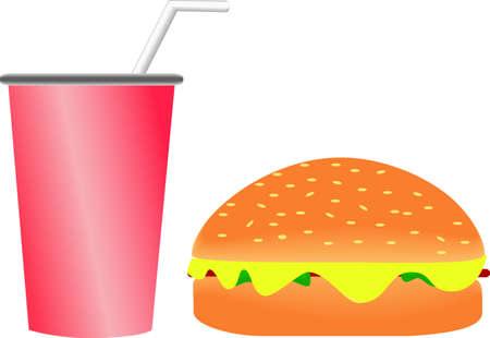 softdrink: Burger and Softdrink Illustration