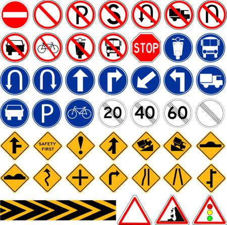 Set van Simple Traffic Sign Stock Illustratie
