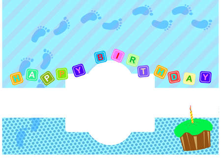 Baby Boy Birthday Greeting Card Vector