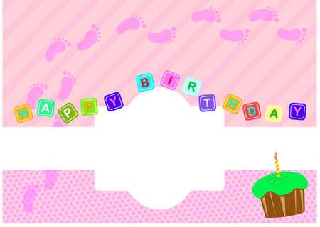 girl birthday: Baby Girl Birthday Greeting Card