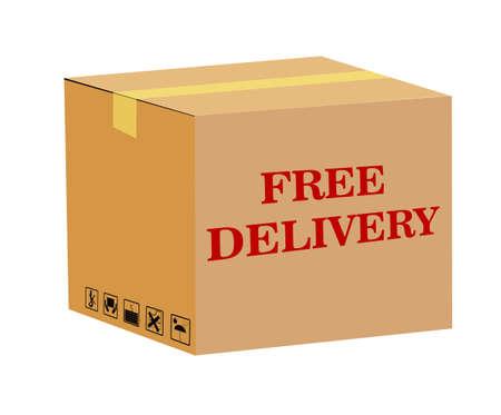 brown box: consegna gratuita - scatola marrone Vettoriali