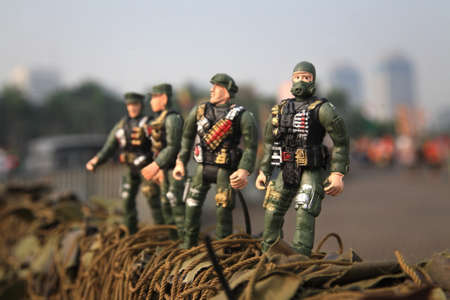 green plastic soldiers: toy soldier Stock Photo