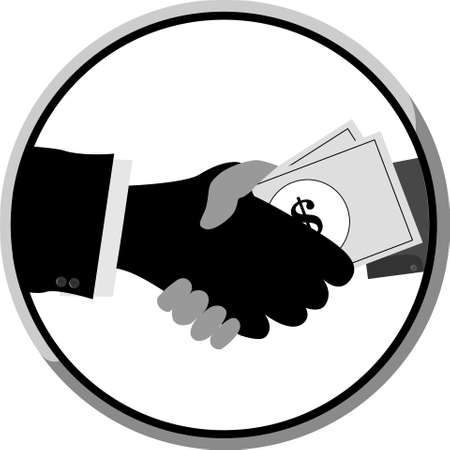 two man handshake with money, isolated on white background