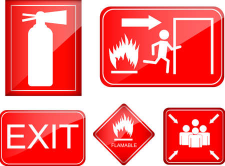 set of fire accident sign Vector
