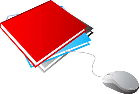 Blank Books and White Mouse  Vector