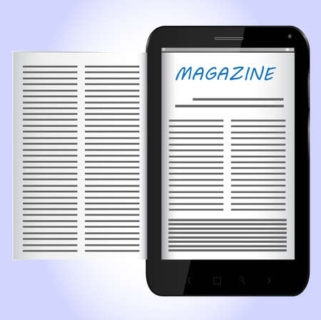 Magazine on Black Smartphone Stock Vector - 24921291