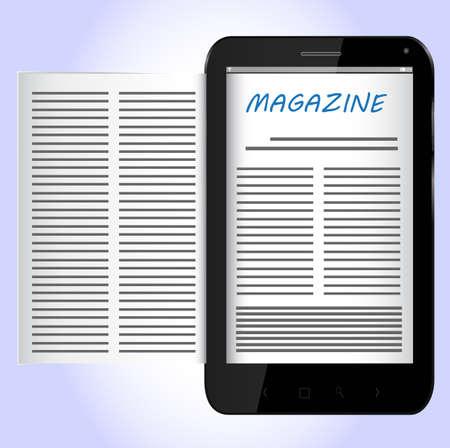 Magazine on Black Smartphone Stock Vector - 24921291