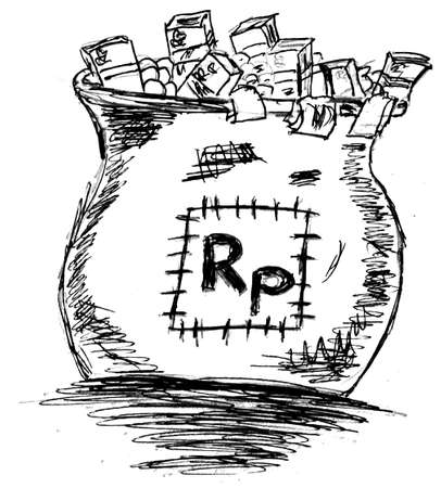 hand draw sketch - a sack of rupiah Vector