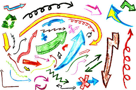 Hand draw sketch with crayon, various arrow Vector