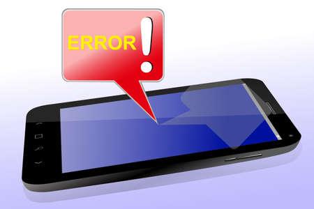 블랙 스마트 폰 및 오류 메시지