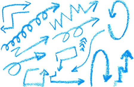 Hand draw sketch with crayon, Blue Arrow with Crayon Vector