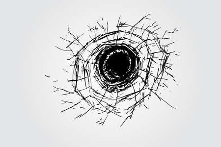 demolishing: hand draw sketch, broken glass Illustration