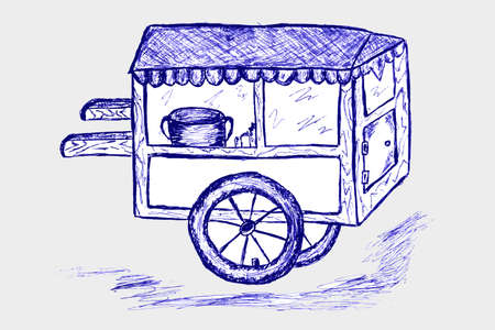 hand draw sketch, cart Vector