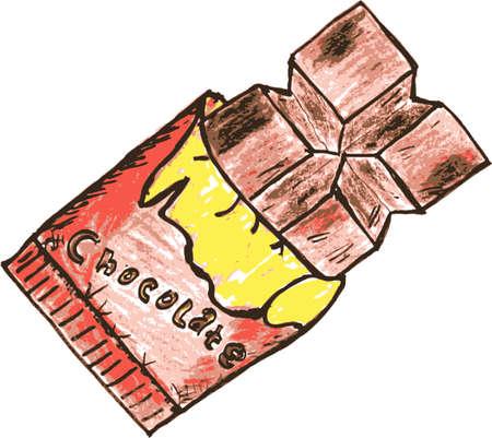 barra de chocolate: dibujo dibujar a mano, barra de chocolate