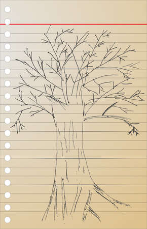 dibujo dibujar a mano, �rbol muerto
