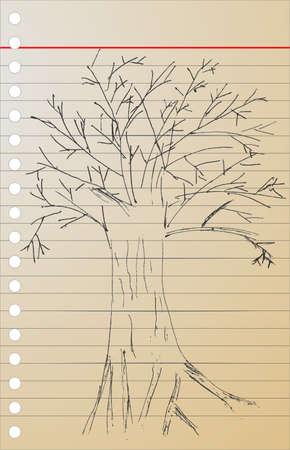 hand draw sketch, dead tree Vector