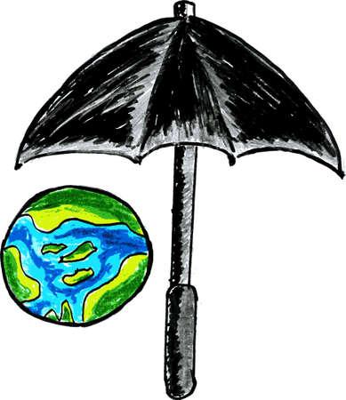 Umbrella Protect Earth Vector