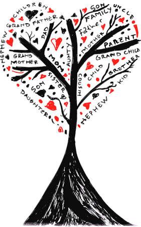 family together: albero skecthy, famiglia Vettoriali