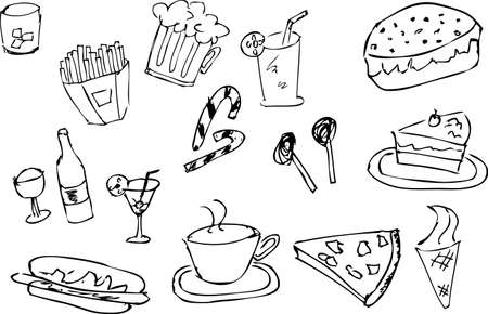 doodle style, food and drink