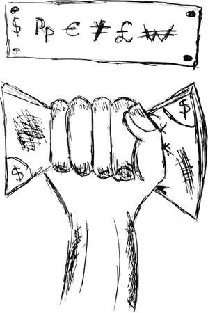 Hand draw sketch of hand holding money Vector