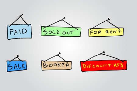 booked: doodle Hanging Label Illustration