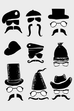 sketchy hat mustache and eyeglass Vector