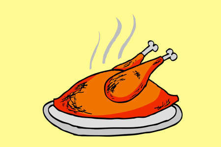 doodle style, whole chicken  Vector